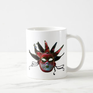 BLACK  RED JESTER MASK ,Masquerade Party Mug