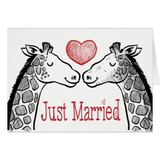 Black & Red Just Married Giraffe Love Wedding Card