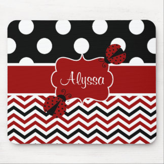 Black Red Ladybug Chevron Personalized Mousepad