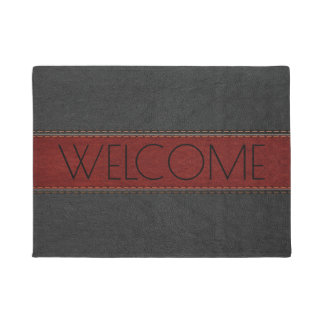 Black & Red Leather Geometric Design Doormat