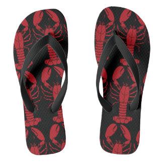 Black - Red Lobster Pattern Mens Flip Flops