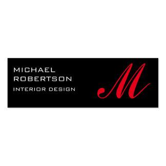 Black Red Monogram Interior Design Business Card