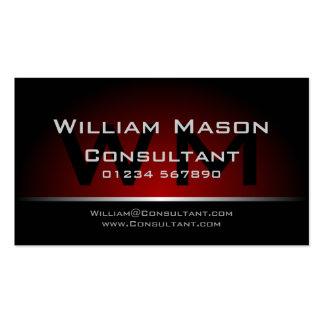 Black Red Monogram Professional - Business Card