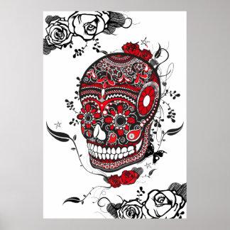 Black & Red Muerte Sugar Skull Poster