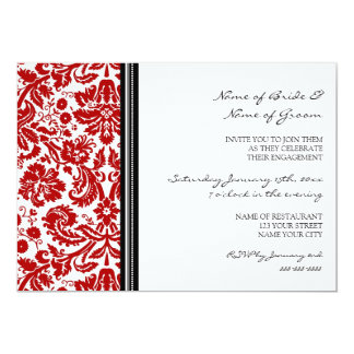Black Red Pattern Engagement Party Invitations
