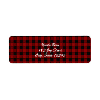 Black & Red Plaid 2 Checkered Address Labels