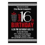 Black Red Polkadots Sweet 16 Birthday Invites
