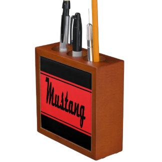 Black Red Race Stripes Muscle Car Desk Organizer Pencil/Pen Holder