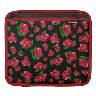 Black & Red Rose Pattern ipad case Sleeves For iPads