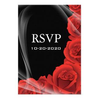 Black Red Rose Wedding RSVP Response Cards Custom Invitation