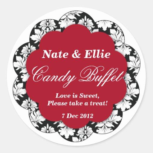 Black & red Scallop Damask Candy Buffet Sticker