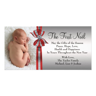 Black Red Silver Baby's First Christmas Photo Card
