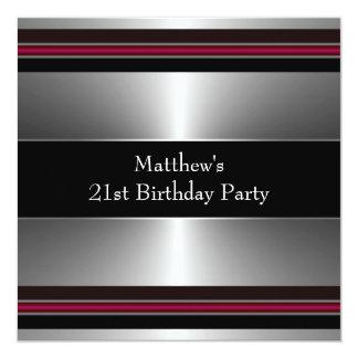 Black Red Silver Mans 21st Birthday Party 13 Cm X 13 Cm Square Invitation Card