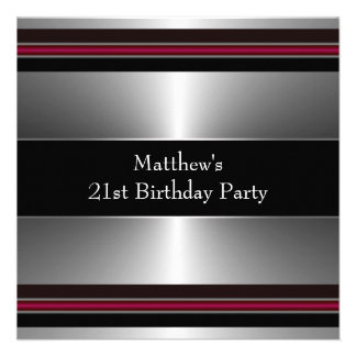 Black Red Silver Mans 21st Birthday Party Custom Announcement