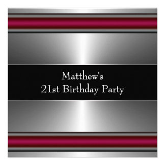 Black Red Silver Mans 21st Birthday Party Personalized Invite