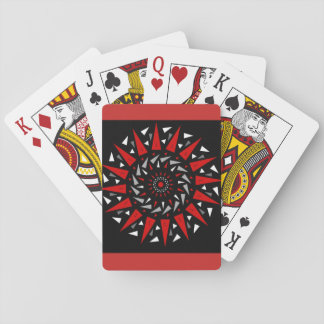 Black Red Spiked Spiral Design Playing Cards