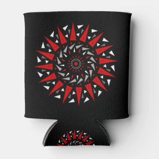 Black Red Spiral Spiked Design Can Holder Can Cooler