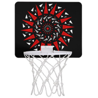 Black Red Spiral Spiked Round Basketball Hoop