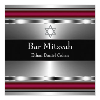 Black Red Star of David Bar Mitzvah 13 Cm X 13 Cm Square Invitation Card