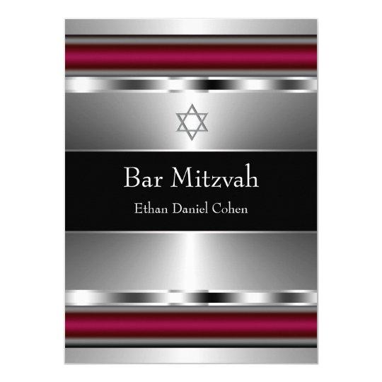 Black Red Star of David Bar Mitzvah Card