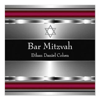 Black Red Star of David Bar Mitzvah 13 Cm X 13 Cm Square Invitation Card