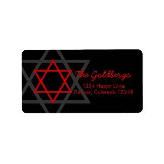 Black Red Star of David Return Address Label