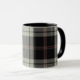 Black Red Tan Ecru Tartan Plaid Mug