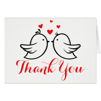 Black & Red Thank You Lovebirds - Wedding, Party Card