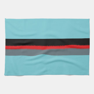 Black Red Turquoise Gray Stripes Tea Towel