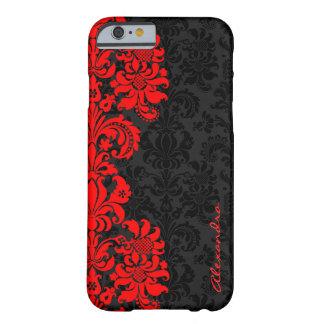 Black & Red Vintage Floral Damasks Barely There iPhone 6 Case