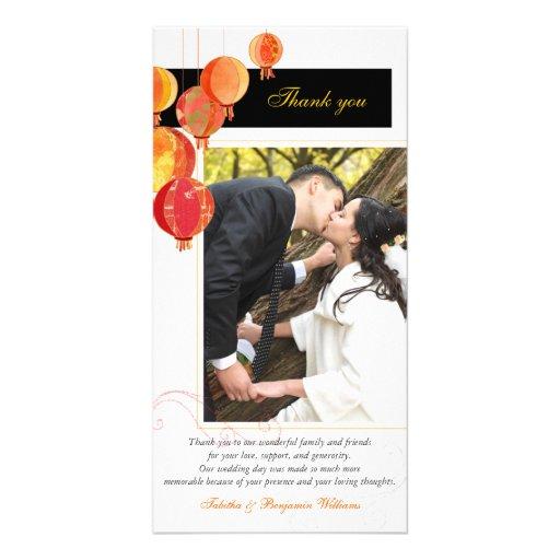 Black, Red, White Asian Theme Wedding Thank You Photo Cards