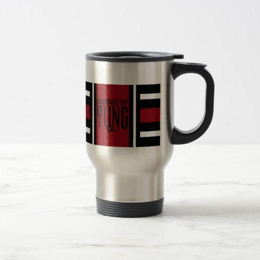 Black Red White Elegant Stripe Coffee Mug