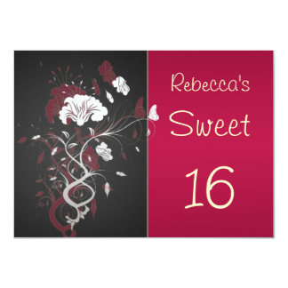 Black, red, white, floral, butterfly Sweet 16 Card