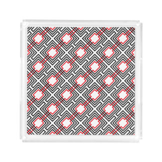 Black Red & White Geometric Acrylic Tray