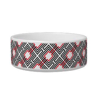 Black Red & White Geometric Bowl