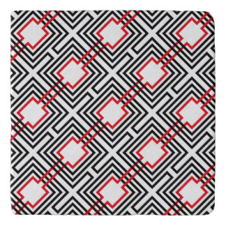 Black Red & White Geometric Trivet