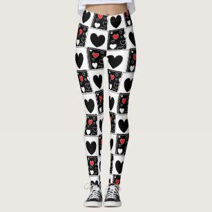 ad8f58582ebb2 Women's Black White Pattern Heart Leggings & Tights   Zazzle AU