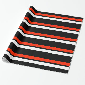 Black Red & White Horizontal Stripes Giftwrap Wrapping Paper