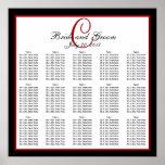 Black Red White Monogram Wedding Seating Chart 150