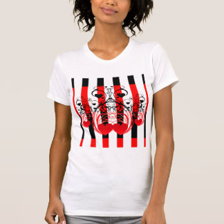Black Red White Stripes & Heart Swirls Shirt