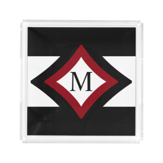 Black, Red & White Stylish Diamond Shaped Monogram Acrylic Tray