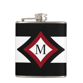 Black, Red & White Stylish Diamond Shaped Monogram Hip Flask
