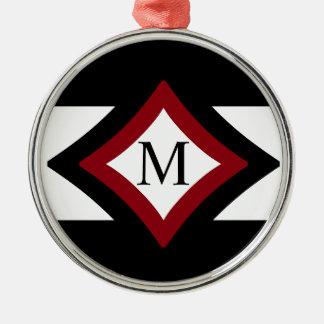 Black, Red & White Stylish Diamond Shaped Monogram Metal Ornament