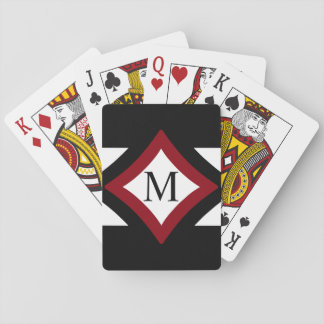 Black, Red & White Stylish Diamond Shaped Monogram Playing Cards