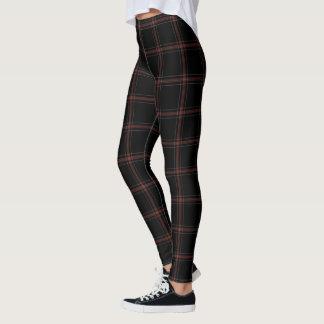 Black Red White Tartan Plaid Leggings