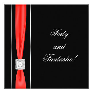 Black Red Womans Classy 40th Birthday Party Personalized Announcements