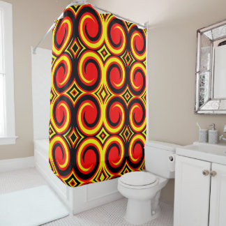 Black Red Yellow Abstract Swirl Pattern Shower Curtain