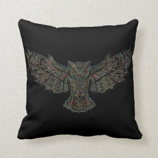 Black Red Yellow Colorful Flying Owl in Flight Cushion