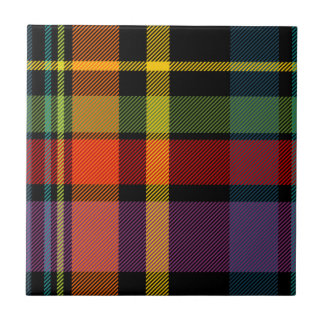 Black, red, yellow, green and purple tartan tile