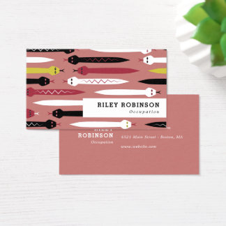 Black Red Yellow & White Snakes Business Card